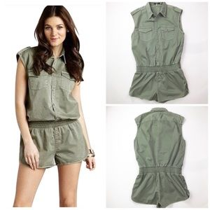 7 For All Mankind Olive Military Romper Jumpsuit M